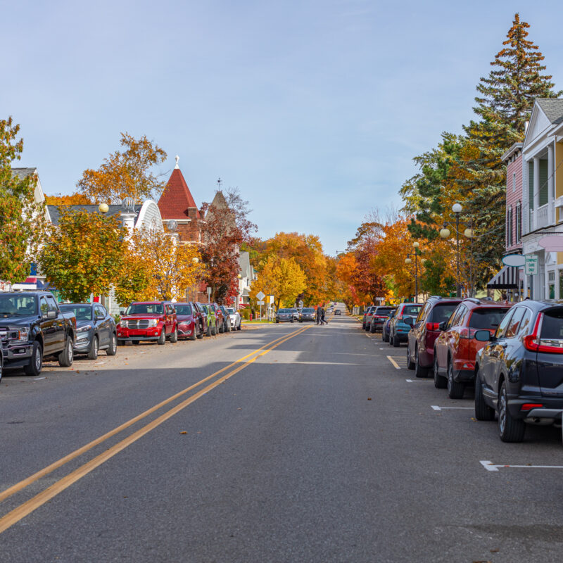 Downtown Harbor Springs, Michigan, during the fall.