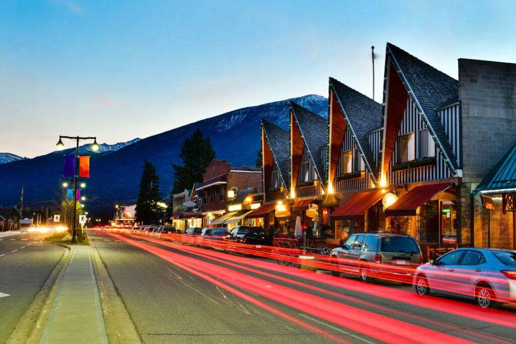 Downtown Jasper at night.
