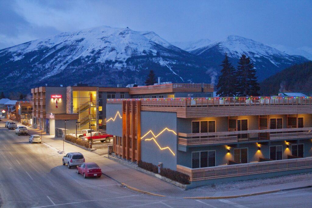 Downtown Jasper at twilight.