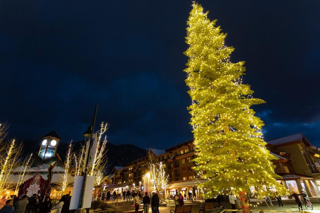 Downtown Lake Tahoe, California, at Christmas.