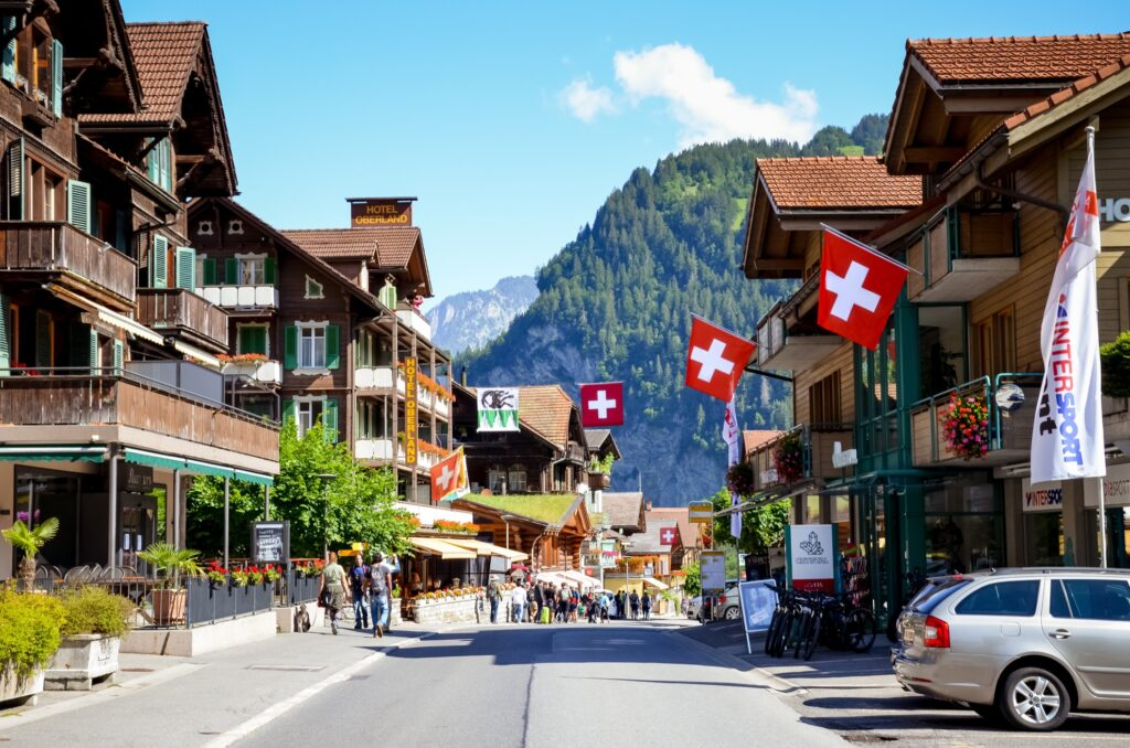 Downtown Lauterbrunnen, Switzerland.