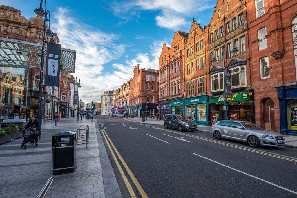 Downtown Leeds in the United Kingdom.