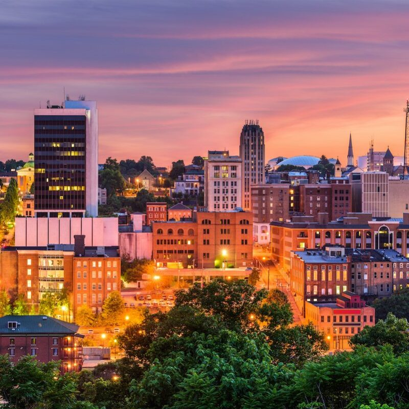 Downtown Lynchburg, Virginia, in the evening.