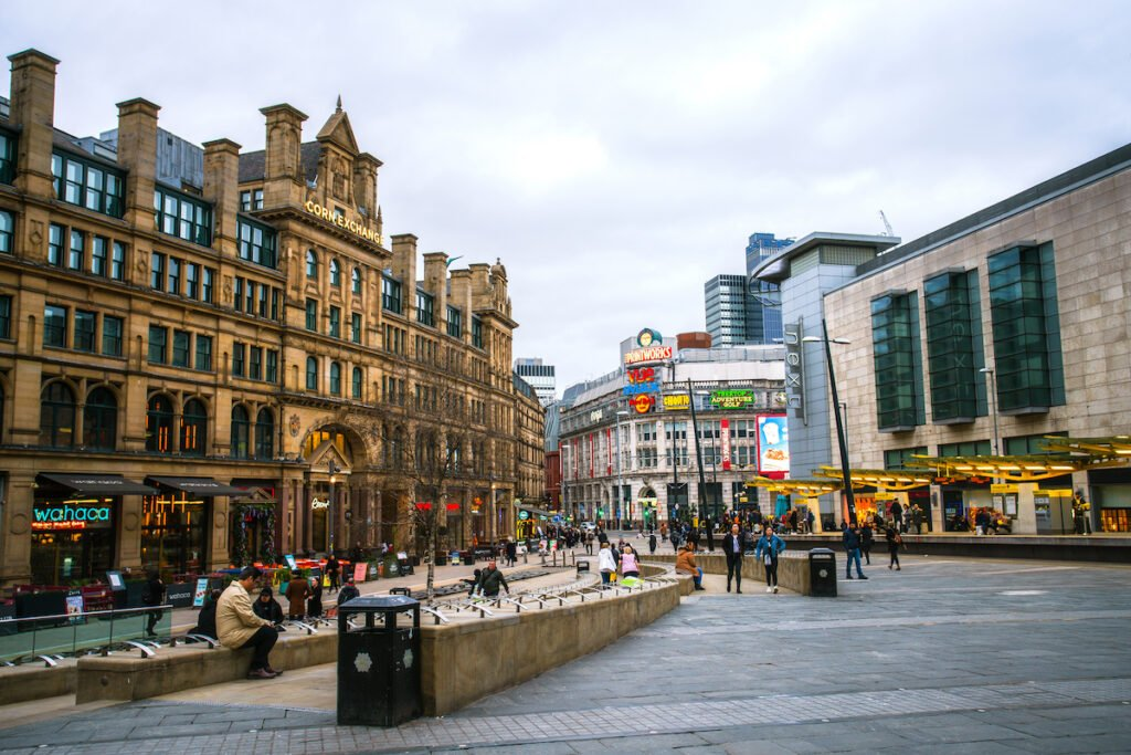 Downtown Manchester, England.