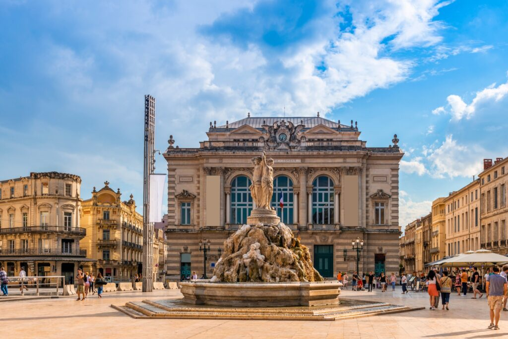 Downtown Montpellier, France.
