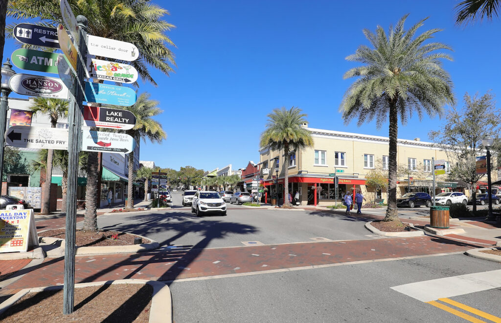 Downtown Mount Dora, a small town in Florida.