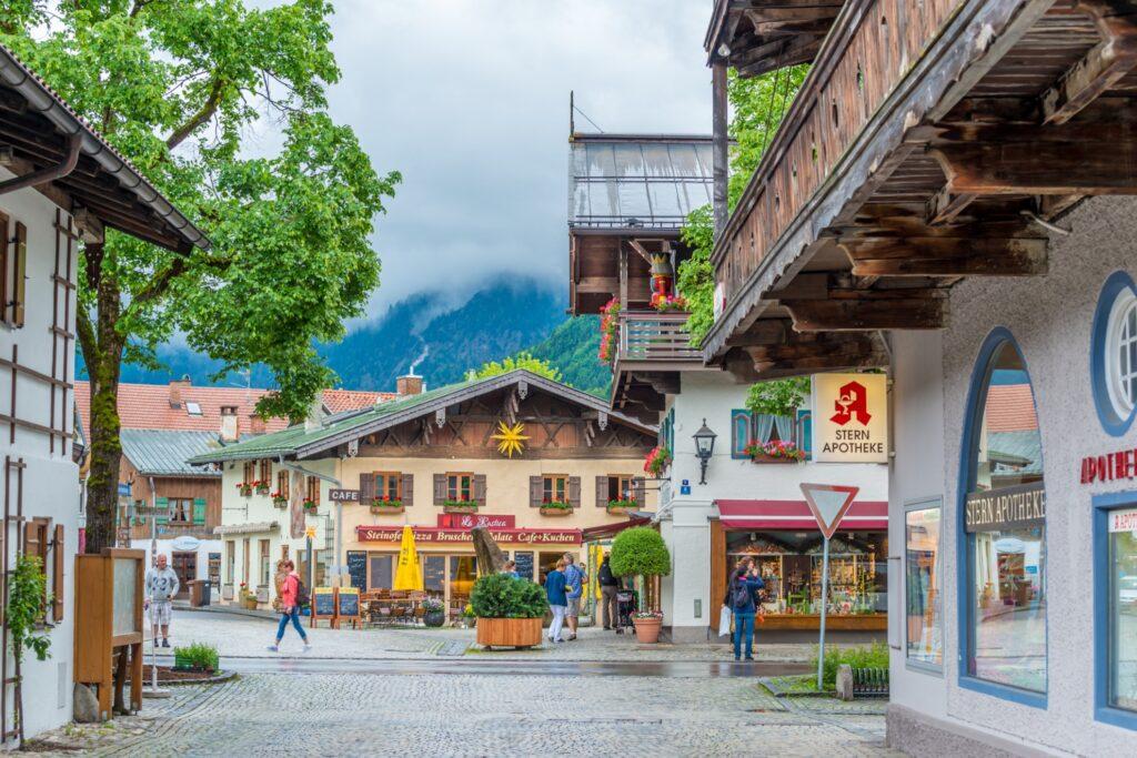 Downtown Oberammergau, Germany.