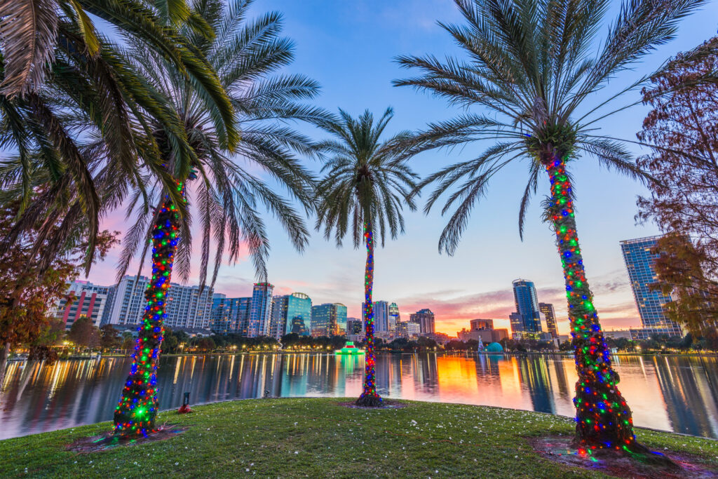 Downtown Orlando, Florida, at Christmas.