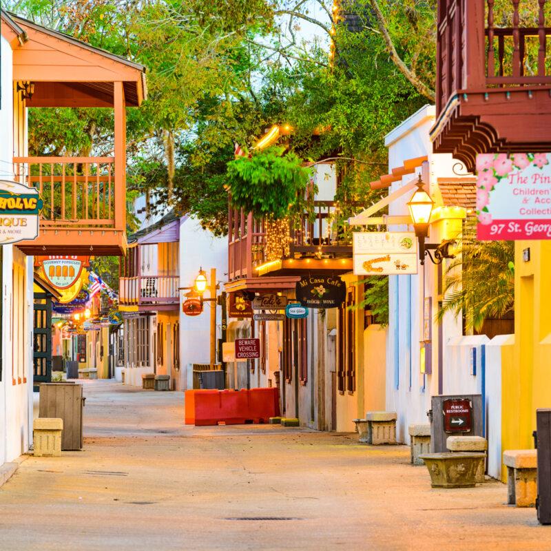 Downtown St. Augustine, Florida restaurants.
