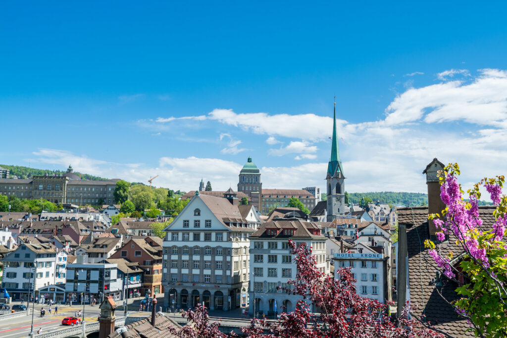 Downtown Zurich, Switzerland, during April.