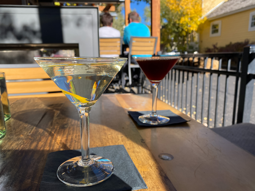 Drinks at the Blue River Bistro.