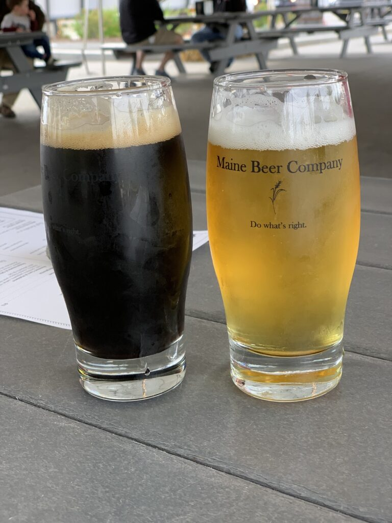 Drinks from Maine Beer Company in Freeport.