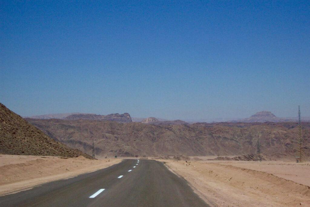 Driving through the Sinai Desert in Egypt.
