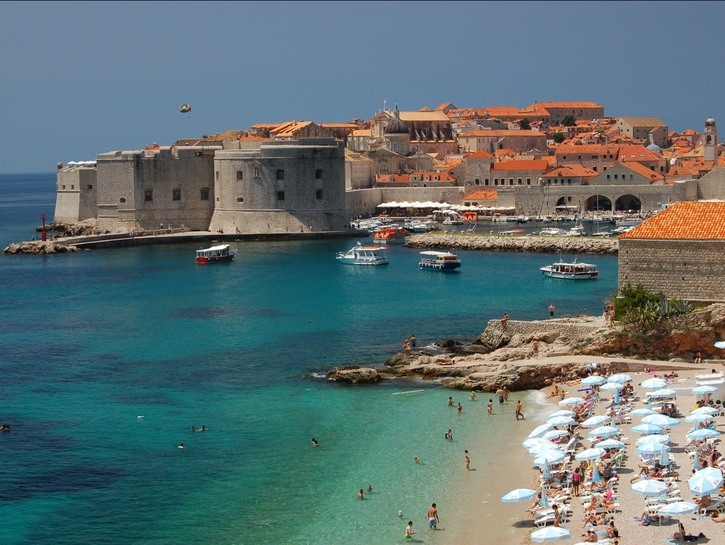Dubrovnik castles at the beach.