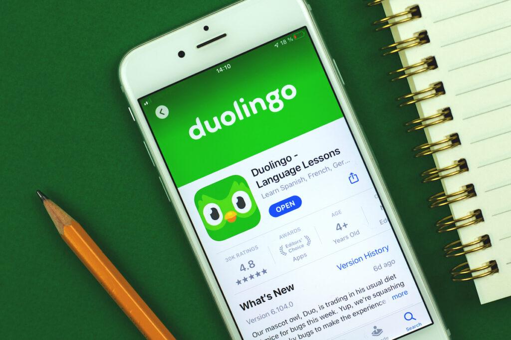 Duolingo app on smartphone.