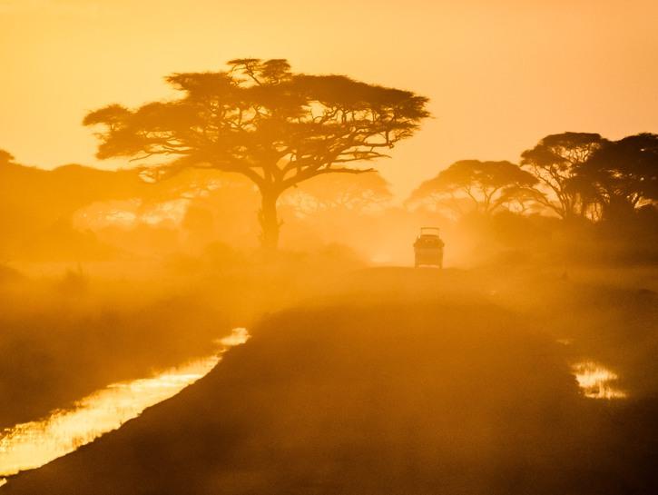 Dusty sunrise on a safari drive