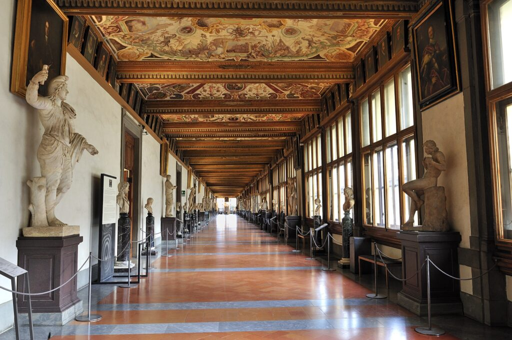East Corridor of the Uffizi Gallery in Florence.