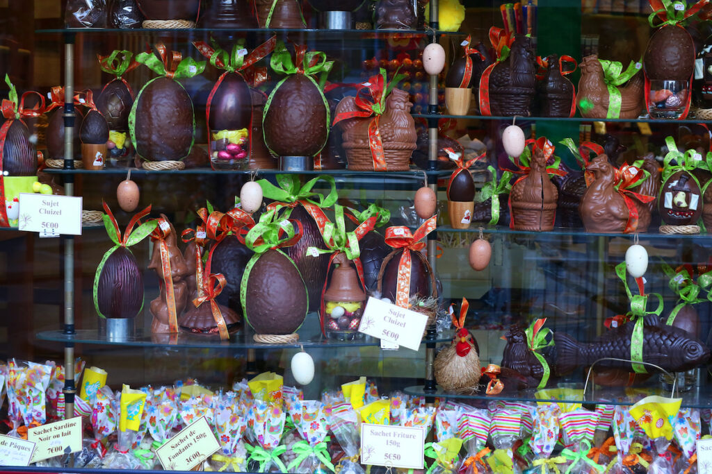 Easter chocolates at a shop in Paris, France.