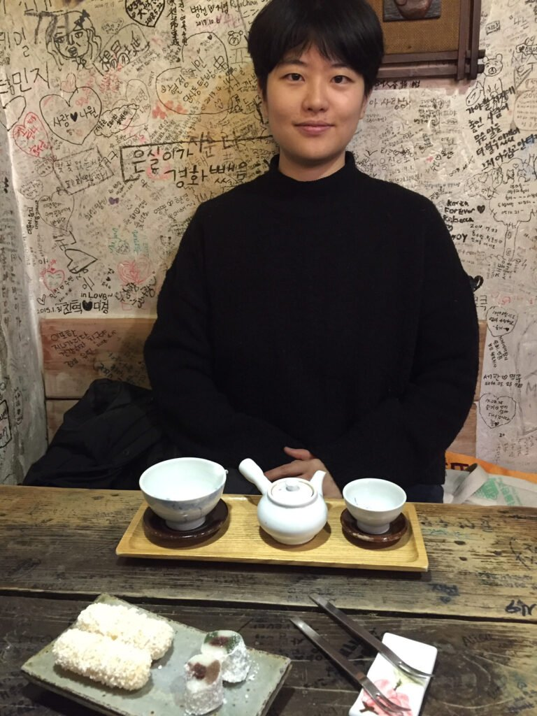 Eating at a tea house in Seoul.