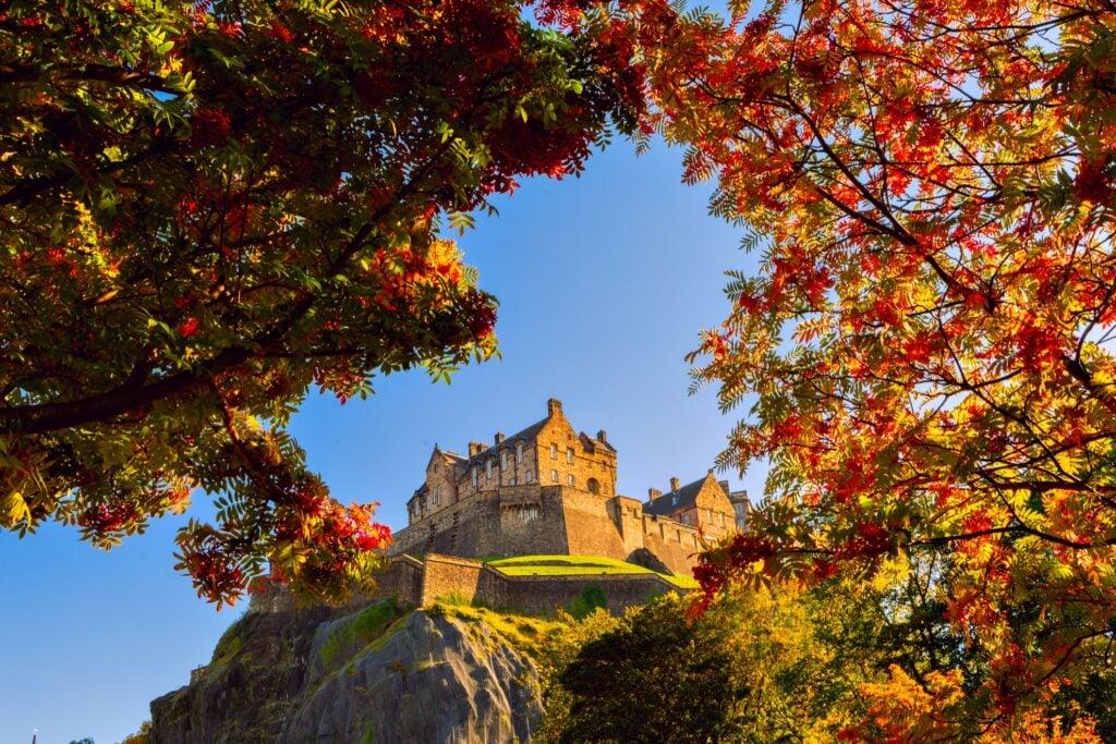 Edinburgh Castle in Scotland during the fall.