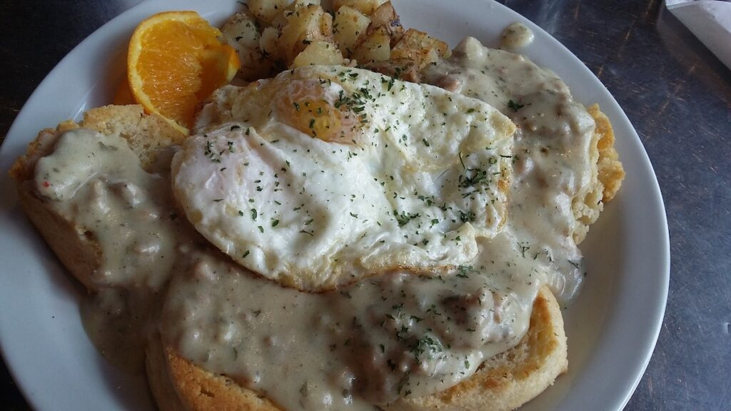 Egg, potatoes, and biscuits and gravy.