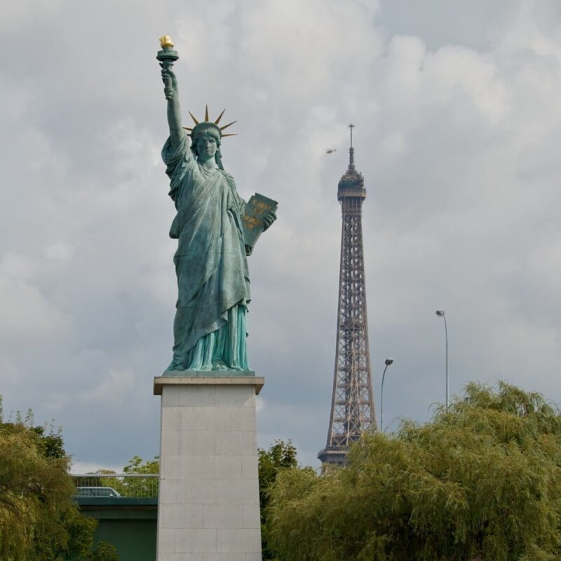 Eiffel Tower and Statue of Liberty.