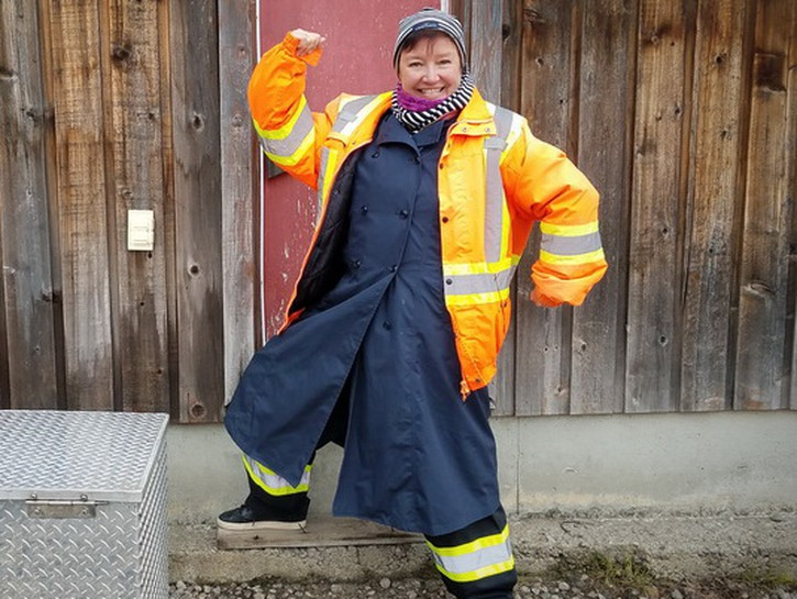 Elaine J. Masters suited up for whale watching in Northern Quebec Province. E Alaska