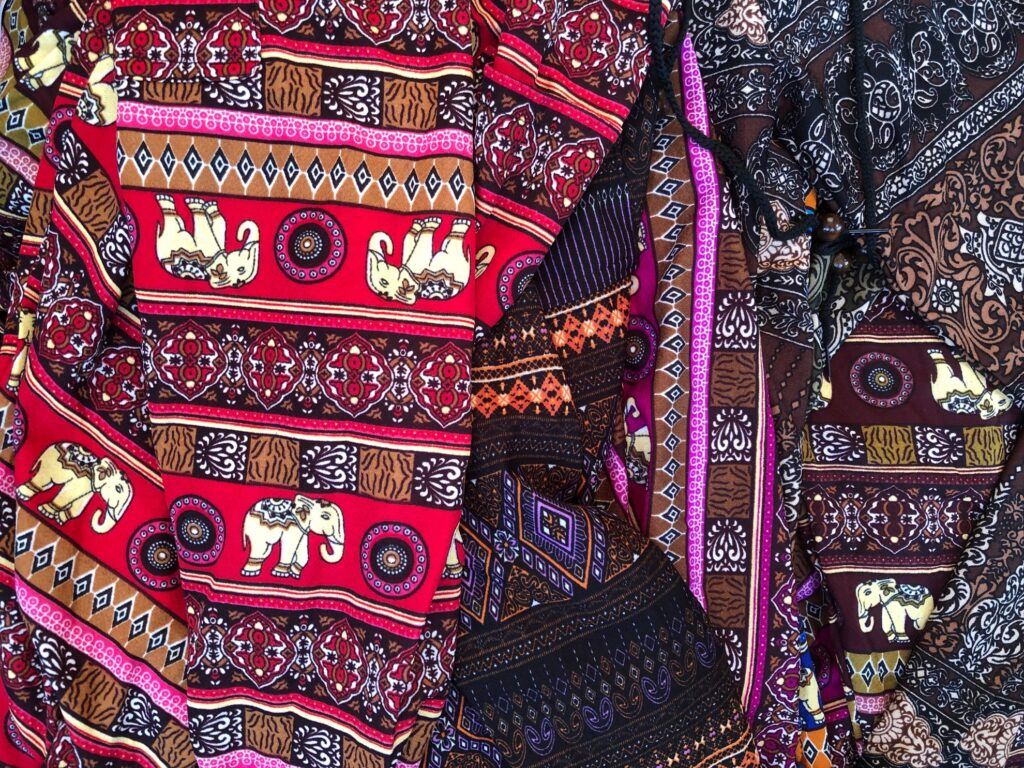 Elephant print clothing from Thailand.