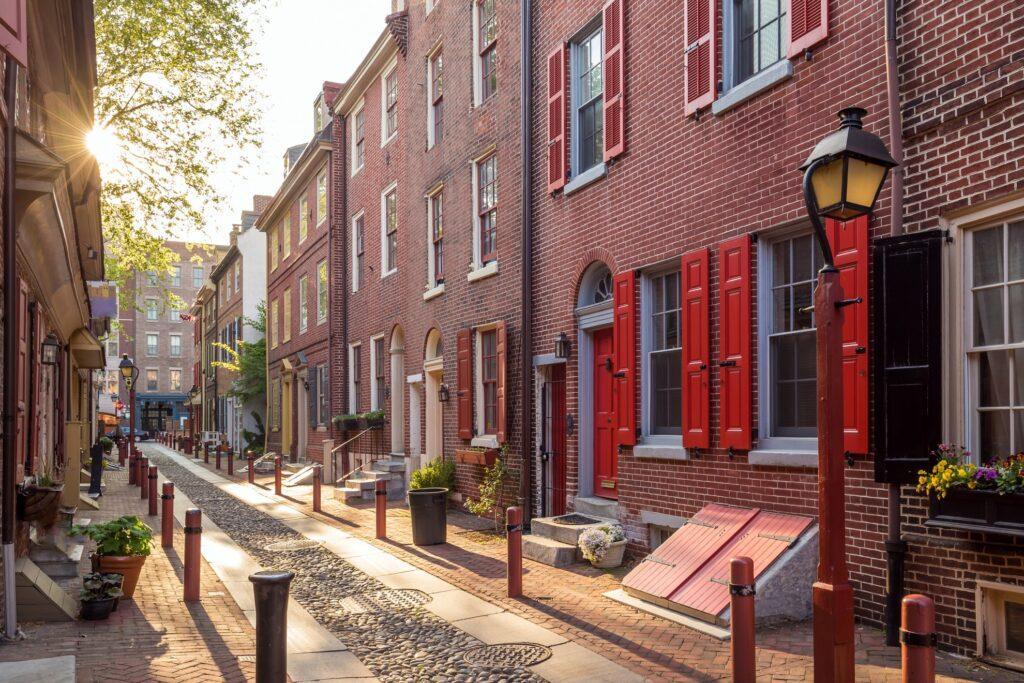 Elfreth's Alley in Old City, Philadelphia.