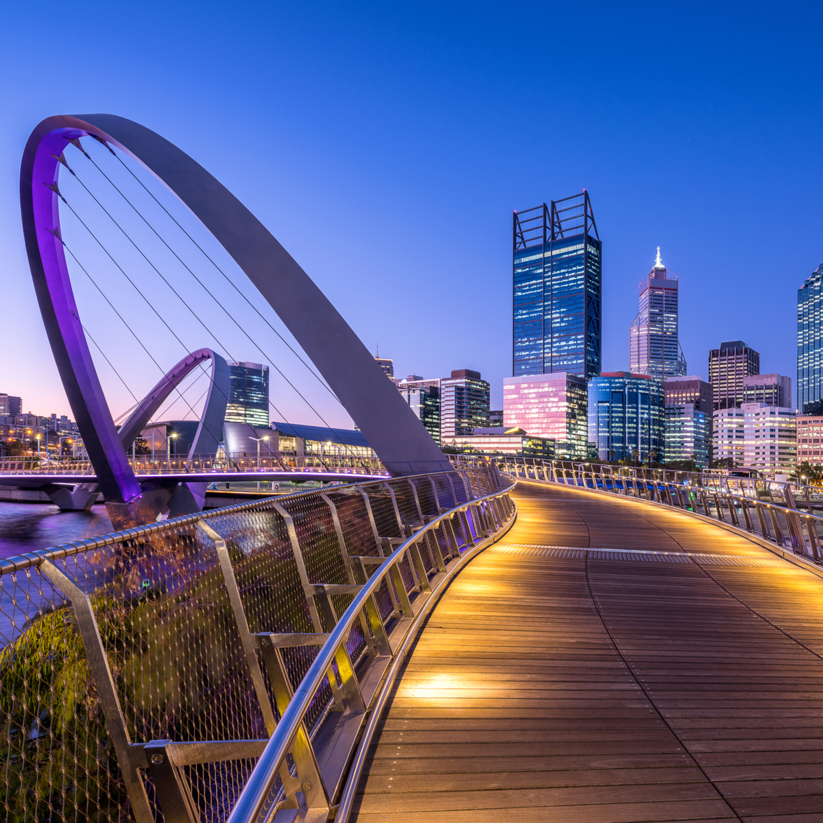 Elizabeth Quay bridge in Perth, Australia.