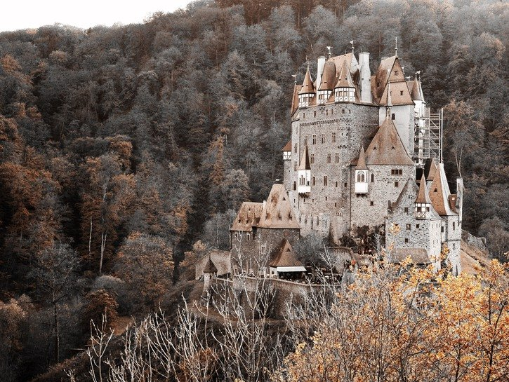 Eltz Castle and its surrounding wooded dell