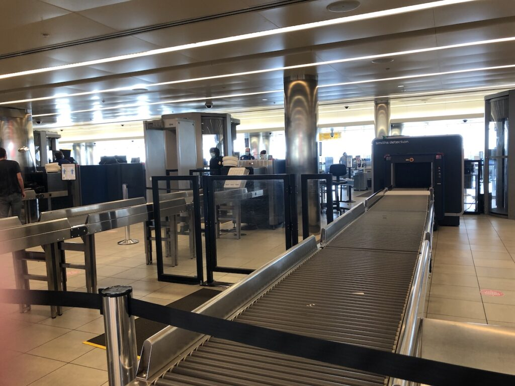 Empty airport security.