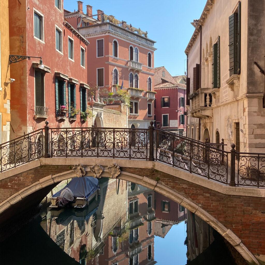 Empty canals and gondolas in Venice.