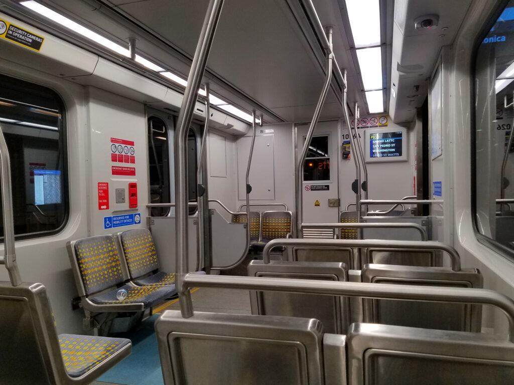 Empty LA Metro Expo Line subway car interior