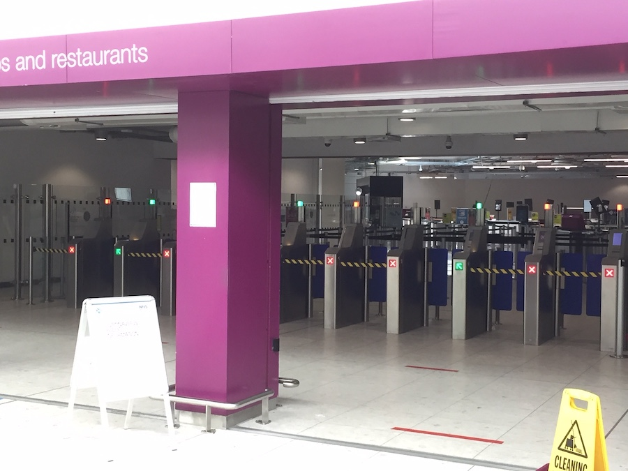 Empty security gates at the airport.