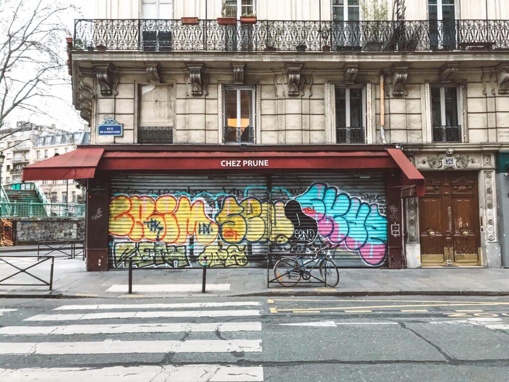 Empty streets and graffiti in Paris.