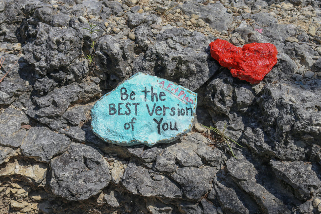 Encouraging painted rocks on the climb up Mount Baldy.