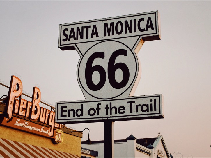 End of Route 66 sign in Santa Monica.