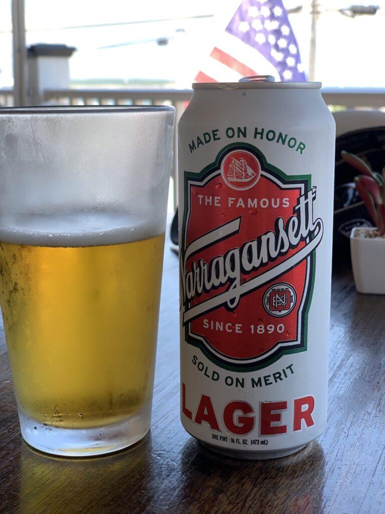 Enjoying a beer at the Coast Guard House.