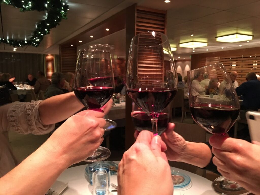 Enjoying a meal with friends on a Viking River Cruise.