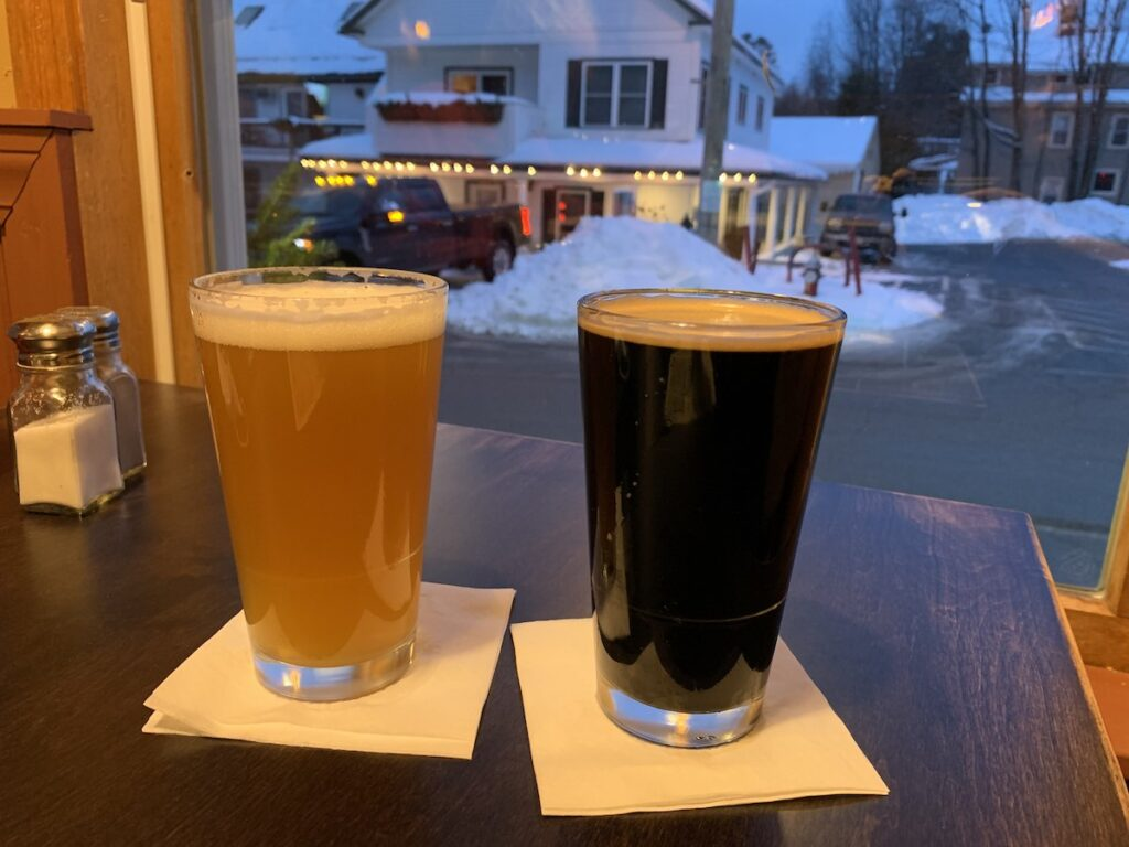 Enjoying beers at the Woodstock Inn in New Hampshire.