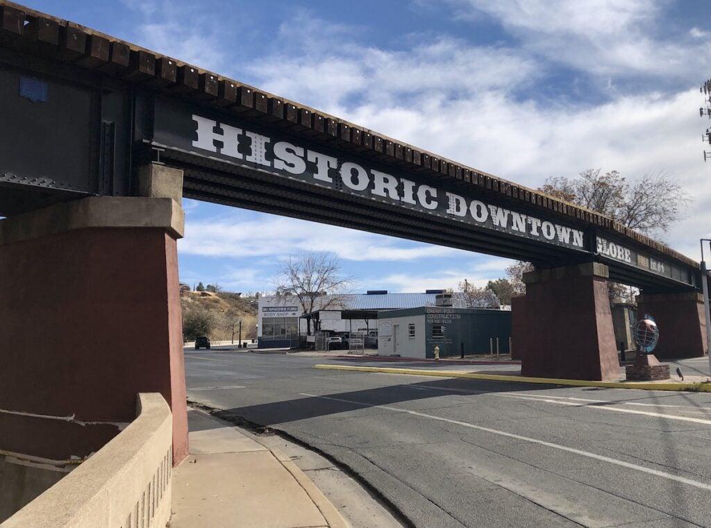 Entering historic downtown Globe, Arizona.