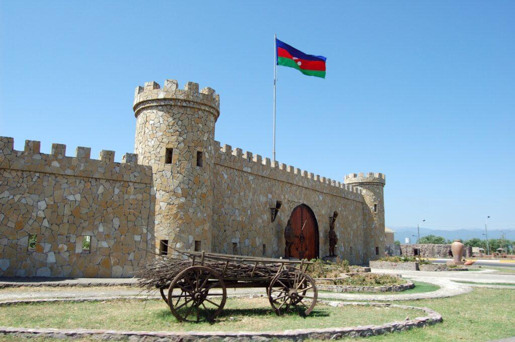 Entrance gate to Lankaran, Azerbaijan.