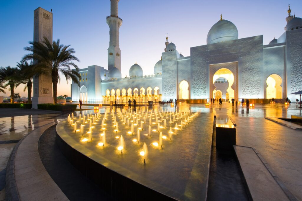 Entrance to the Sheikh Zayed Grand Mosque.