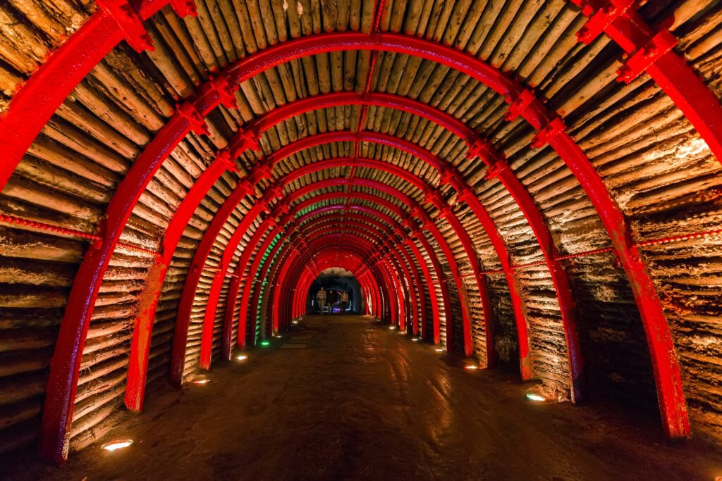 Entrance tunnel to the Salt Cathedral of Zipaquira.
