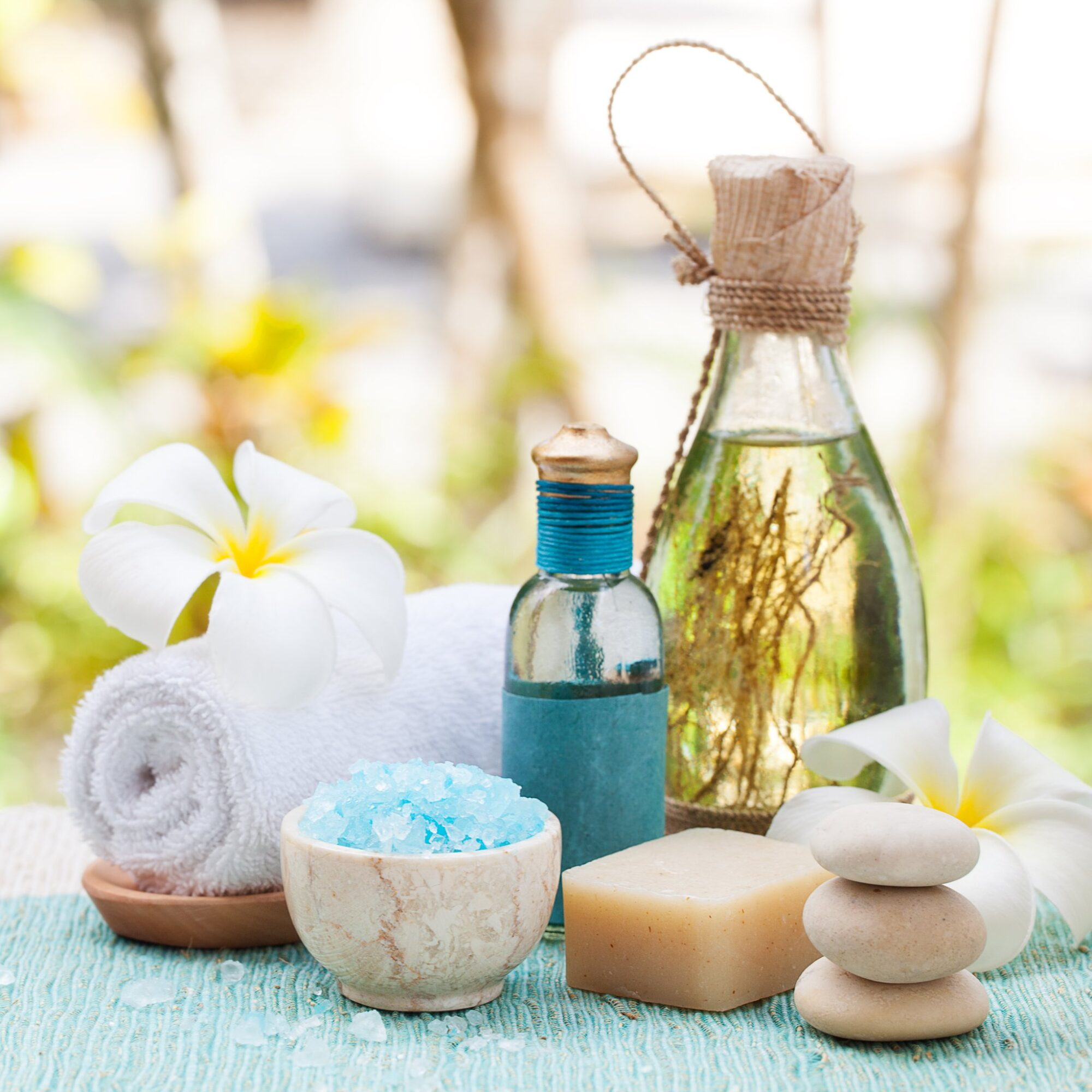 Essential oils, salts, and other spa items.