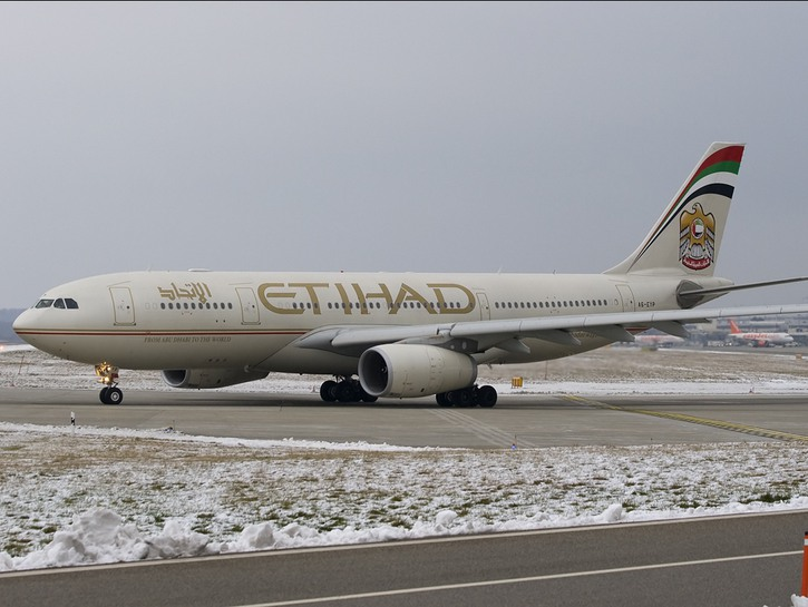 Etihad plane on the runway, snow-covered grass