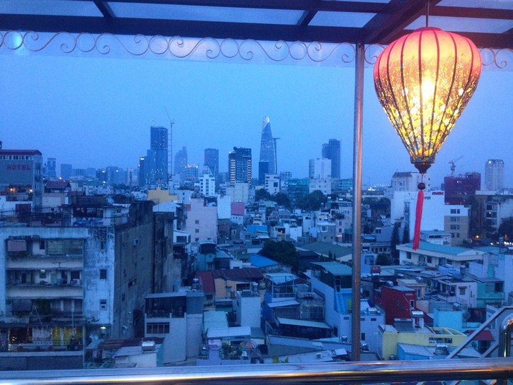 Evening rooftop views of Ho Chi Minh City