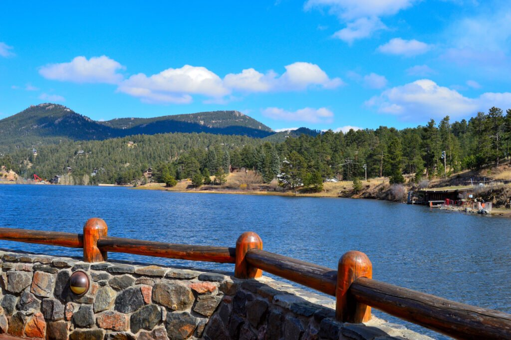 Evergreen Lake in the town of Evergreen, Colorado.