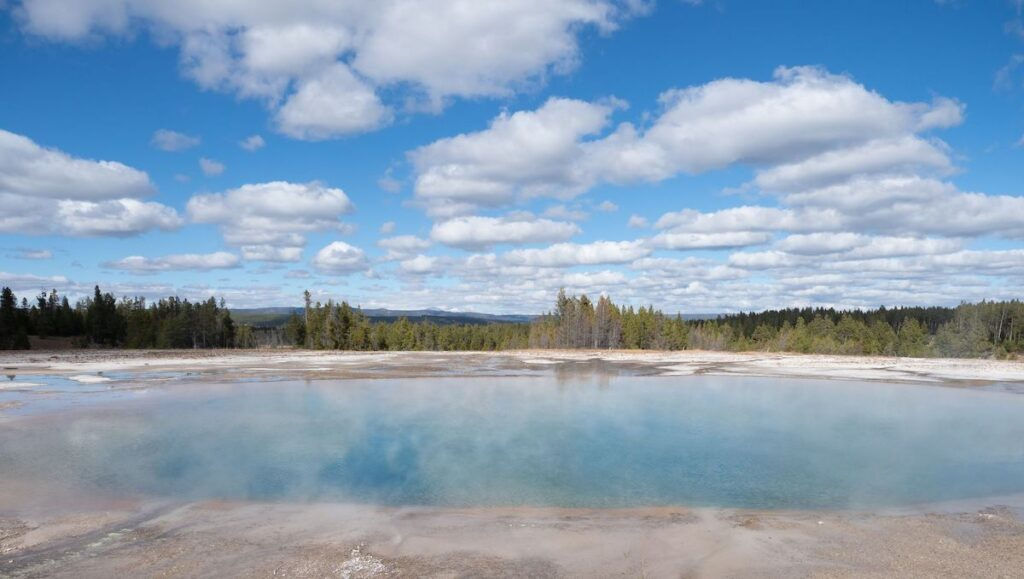 Excelsior Geyser Crater in Yellowstone National Park.